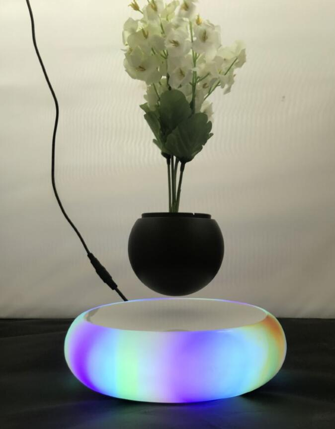 led light magnetic floating levitate bottom air bonsai planter pot
