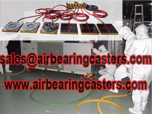 Air bearing casters suitable for clean rooms moving works