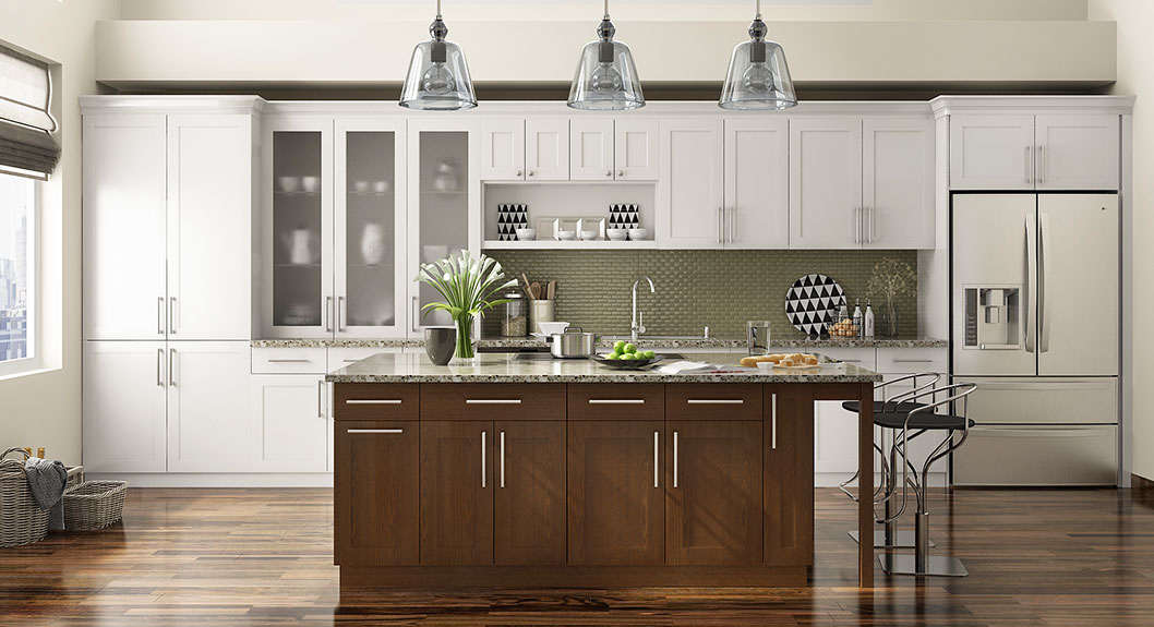 Shaker Style Straight Line Kitchen with Island OP17-L09
