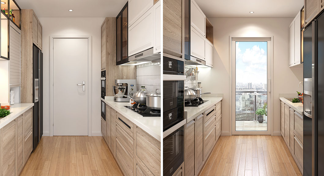 Transitional Style Small Galley Kitchen OP18-PP01