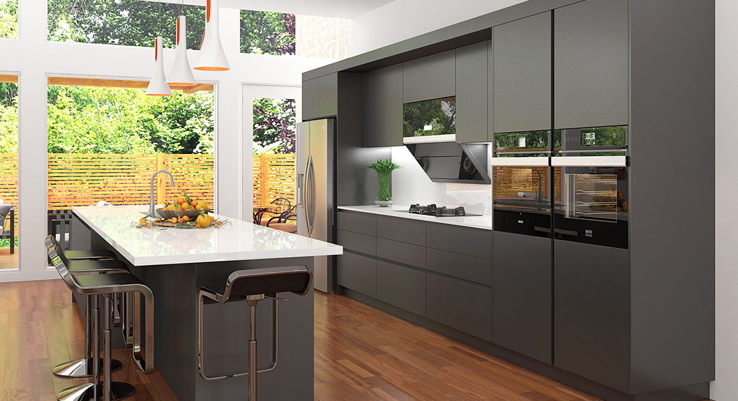 Black Lacquer Kitchen Cabinet with Large Island OP17-L13