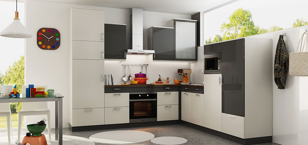 L Shaped White and Dark Grey Kitchen Cabinet OP18-HPL02