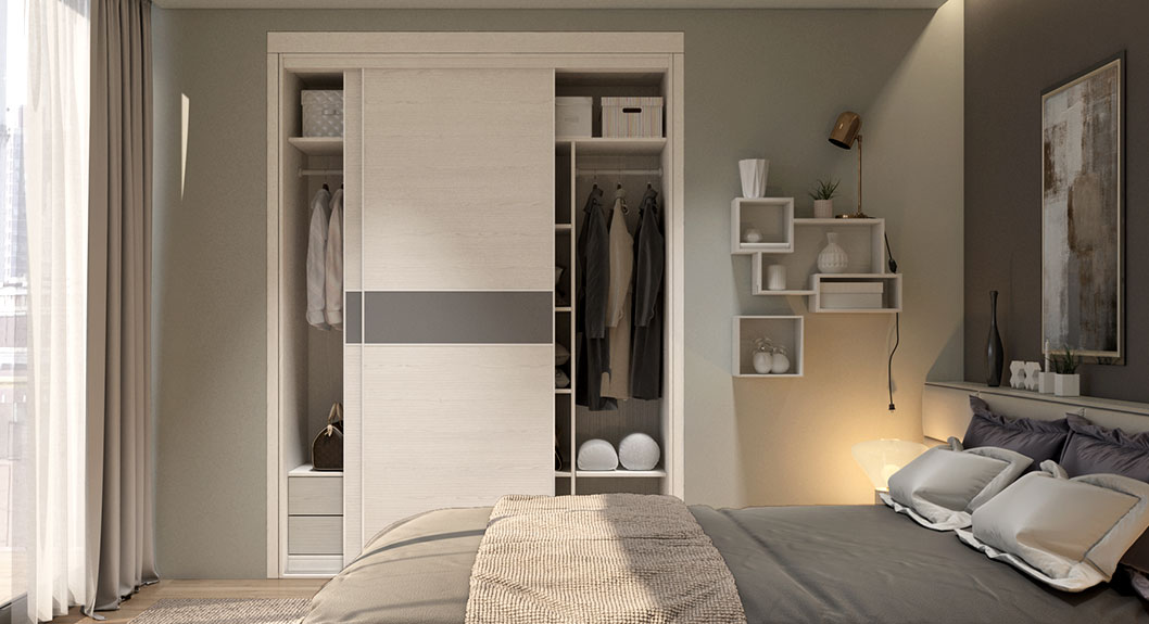 Wood Grain Laminate Sliding Wardrobe YG17-HPL01