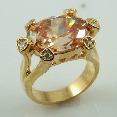 Wholesale 18K gold plated big oval stone cocktail ring