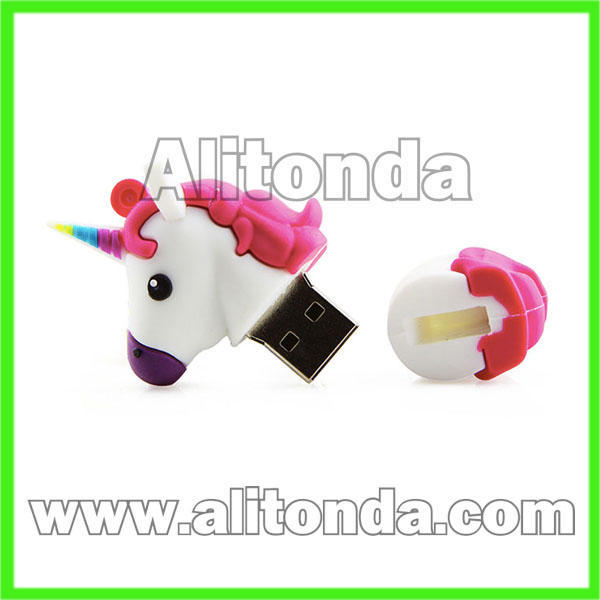 PVC cartoon animal unicorn horse USB driver USB storage custom