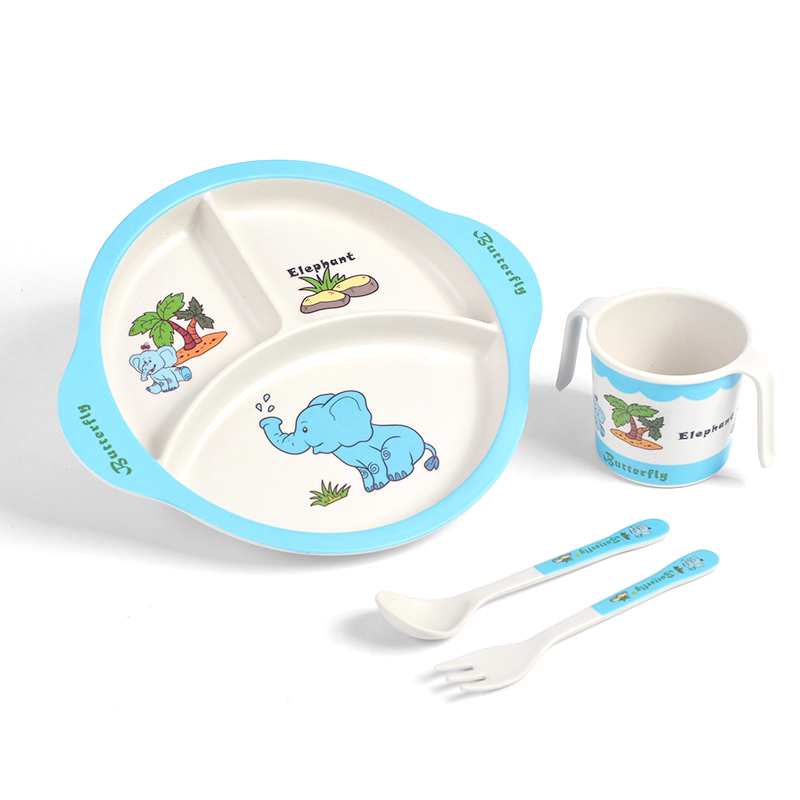 Bamboo Fiber Dinnerware Baby 4pcs Feeding Dinner Set