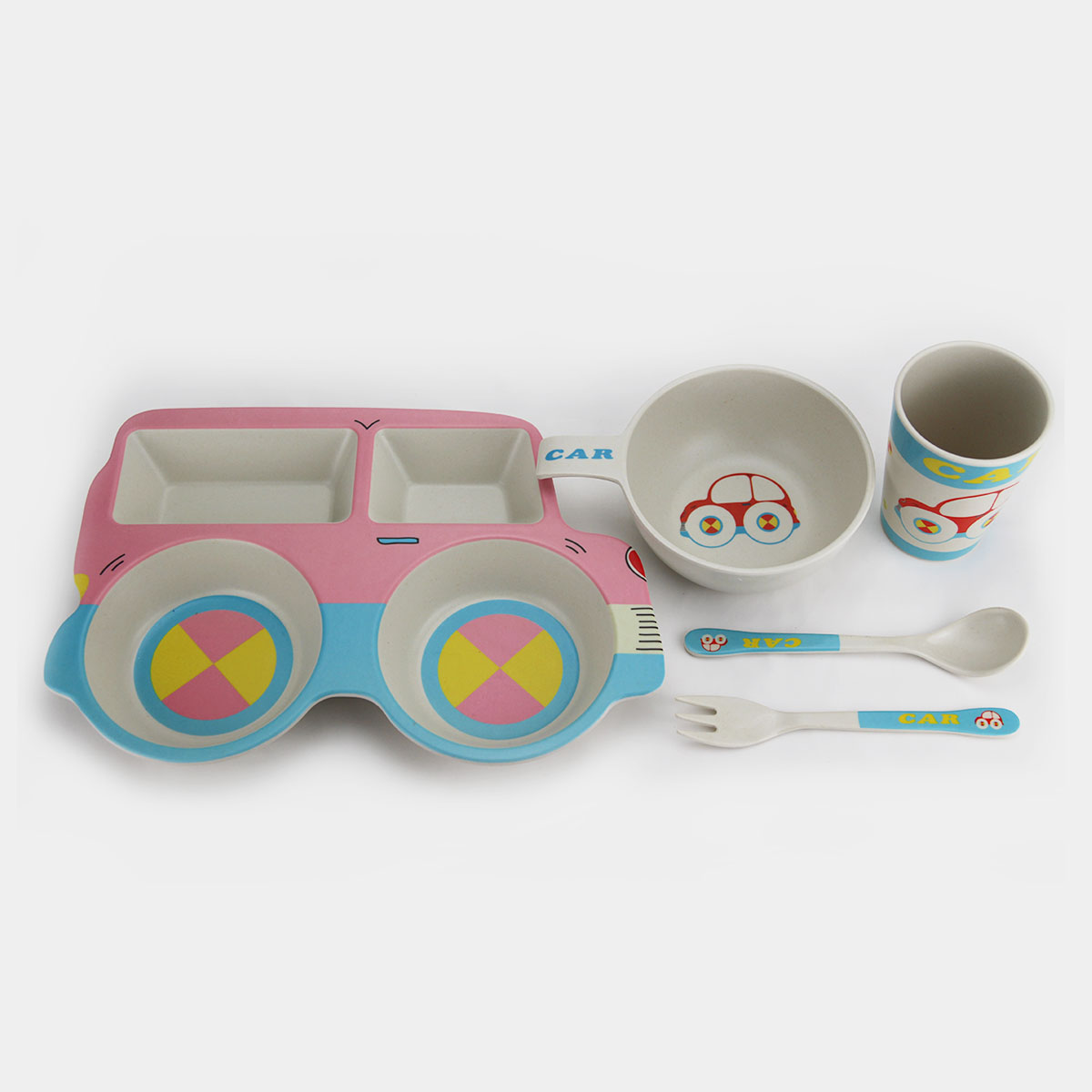 5PC Dinnerware Set Bamboo Fiber Kids Tableware Set