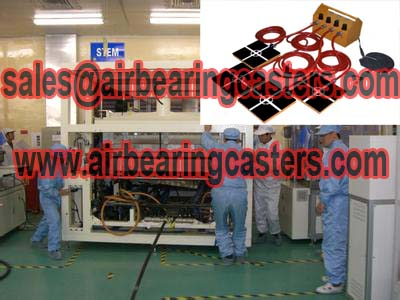 Air bearing casters to keep safety