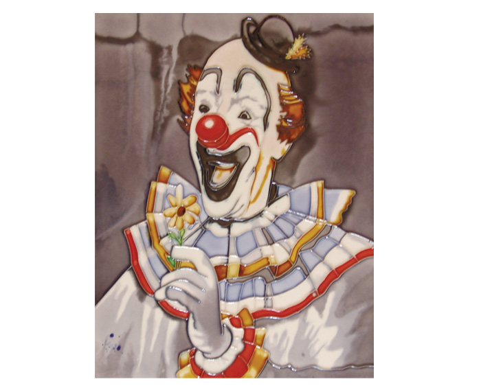 Decorative handmade ceramic tile clown YJS-033