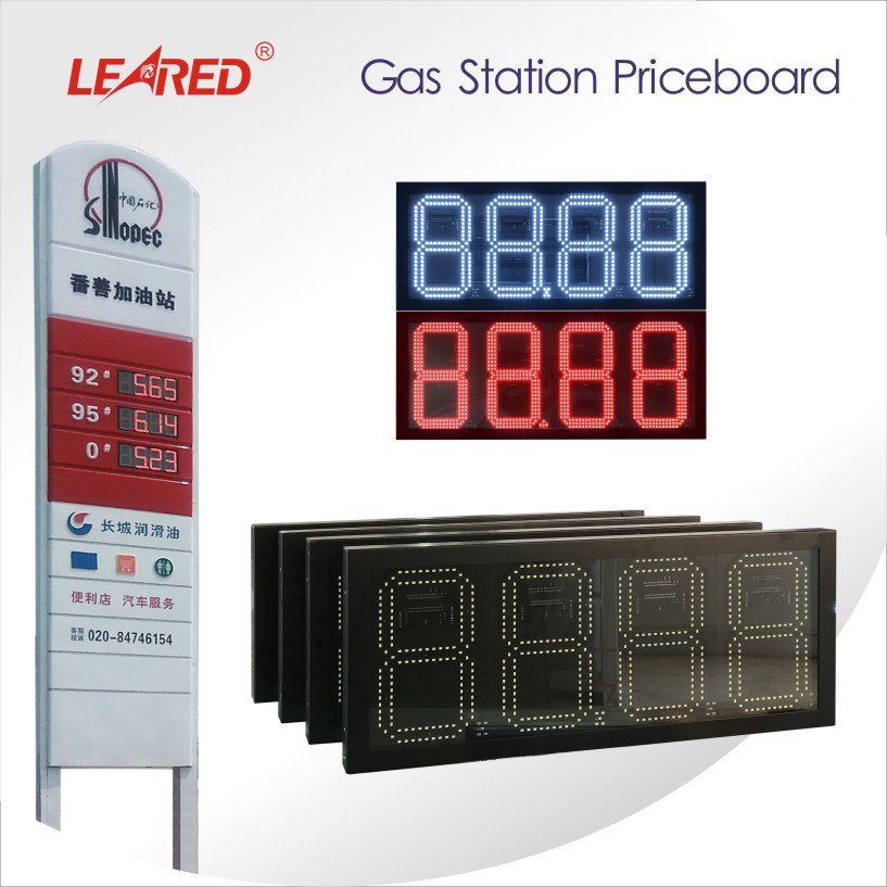 China 4 inch 8 inch 10 inch 12 inch High Brightness Light Thin Varied Remote Control Digital LED gas station Price Board/Screen/Sign Manufacturer