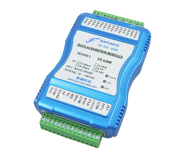 4-20mA/0-10V/5V to RS232/RS485 digital isolator Converter(each channel non-isolation) SY AD08 Series-8-ch