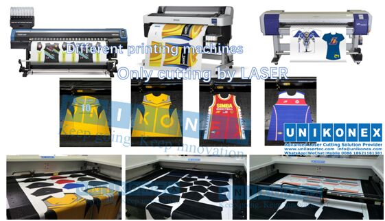 Dye sublimation printed laser cutting by Unikonex