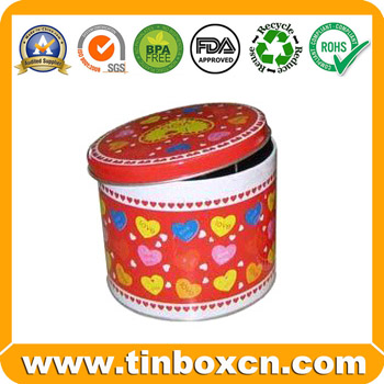 Round metal tin can