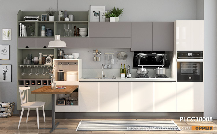 Beige and Gray Lacquer Straight Line Kitchen PLCC18088