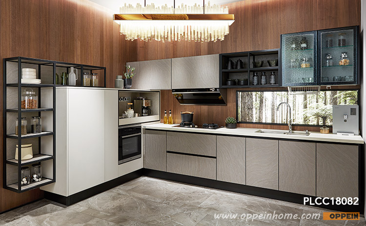 White and Gray Laminate L-Shaped Kitchen PLCC18082