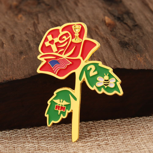 Rose Enamel Lapel Pins