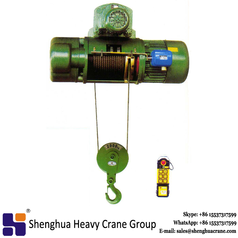20ton double speed cd1 electric wire rope hoist with remote control