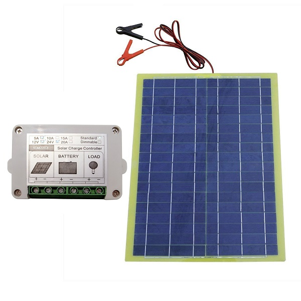 12 Volts 20 Watts Epoxy Solar Panel Kits with 10A PWM Charge Controller