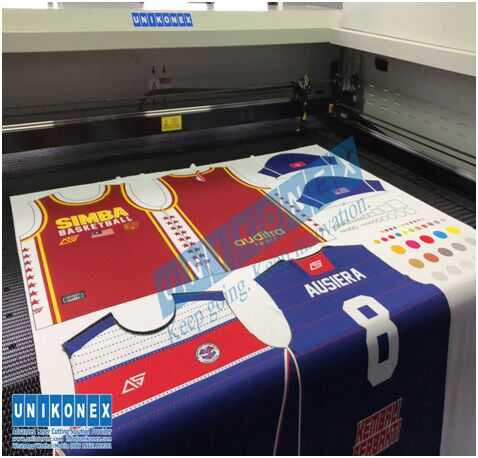 Laser cutting in dye sublimation printed sports jersey by Unikonex