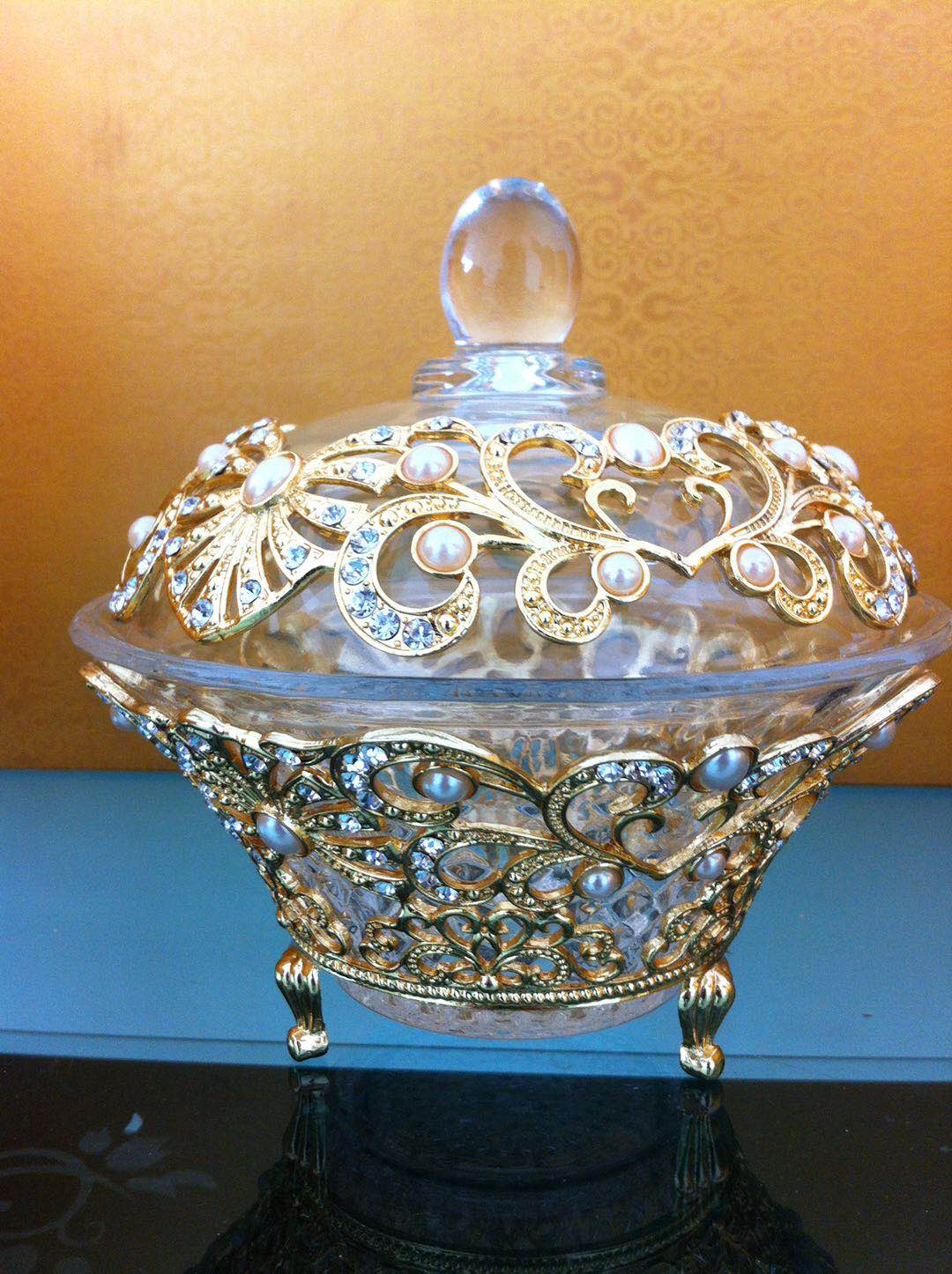 Glass sugar bowl with ZAMAC decoration