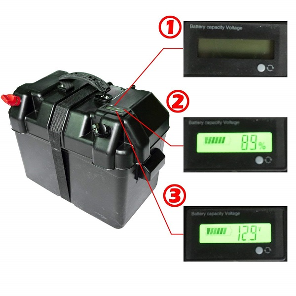 100AH 12V Black Battery Box with LCD Screen for Marine and RVs