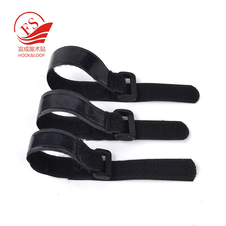 High elastic anti-slip glue hook loop strap 16*190mm with silicone backing