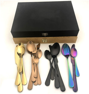 Wholesale rainbow wedding gold black copper stainless steel cutlery sets