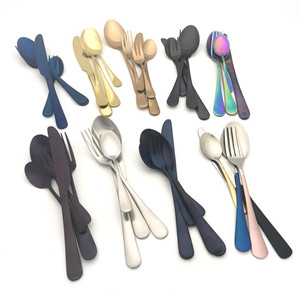 wholesale round handle bulk gold plated restaurant stainless steel flatware set