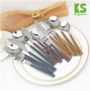 24pcs best kitchen wooden color plastic handle stainless steel cutlery