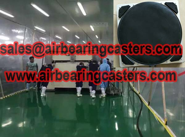 Air bearing casters applied on moving machines