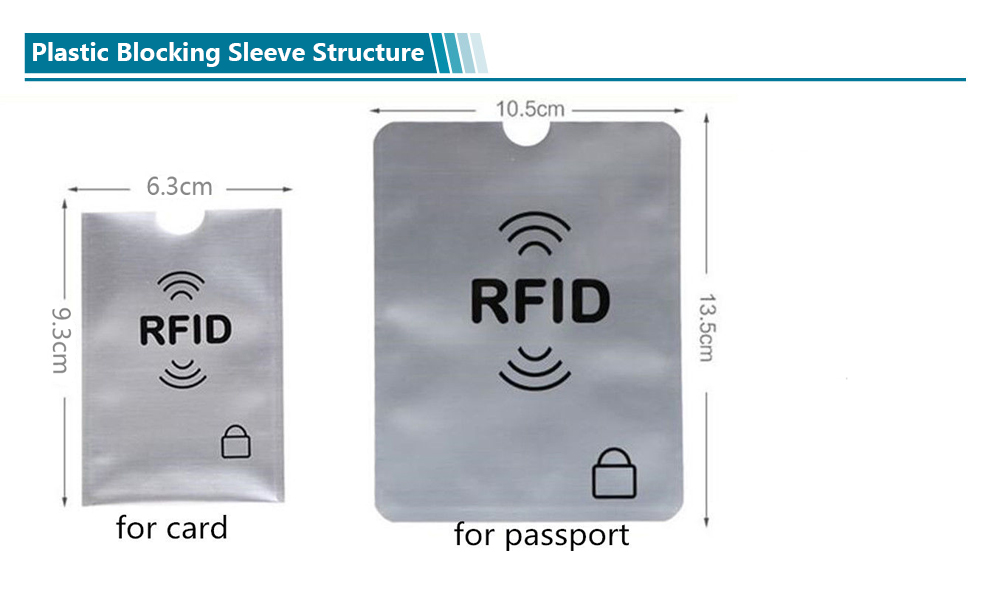 PVC or PE material Card Sleeve for blocking RFID Payment Card