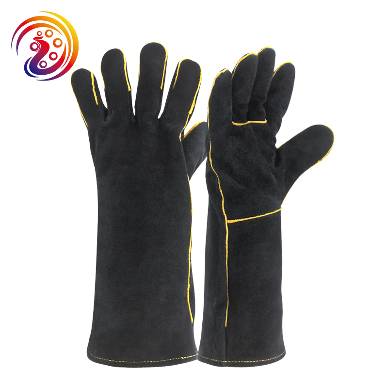 welding/welders gloves heat resistant cow split fireplace leather gloves