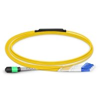 MTP Female to 4LC UPC Duplex 8 Fibers OS2 9/125 Single Mode Breakout Cable, Type B, Elite, Plenum (OFNP), Yellow