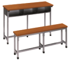 Study furniture 3-seater student desk and bench in selling