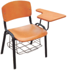Modern wood school chair with writing pad