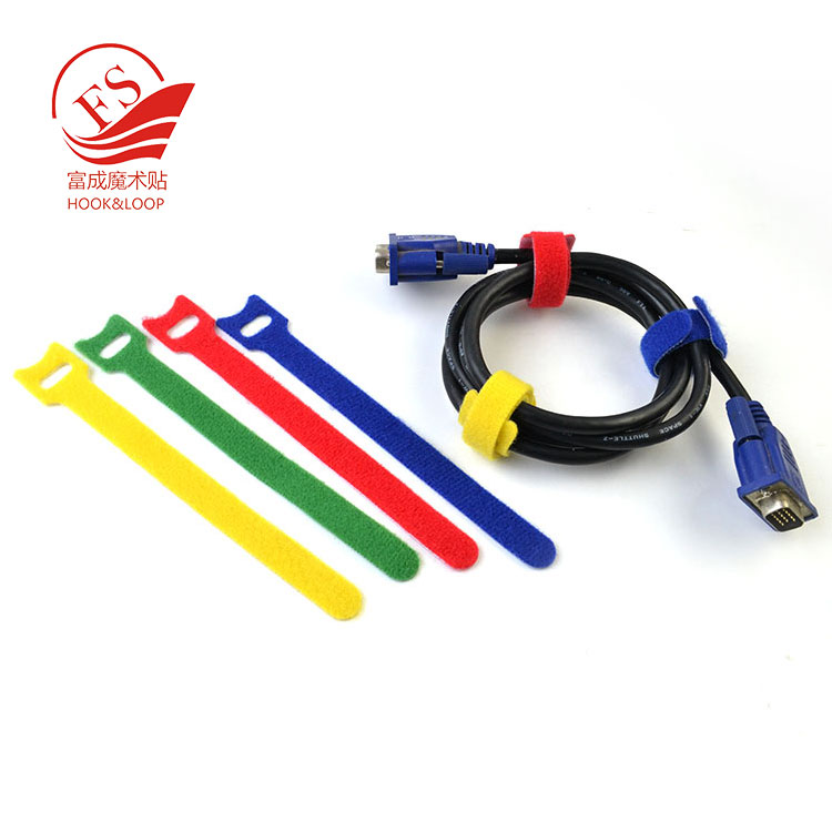Good quality Cable Straps Hook&Loop Fastening Tape cable tie with label