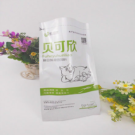 Hot Sale Plastic Quad Seal Bag for Compound Premixed Feed Plastic Packaging Bag Pet Food Bag Plastic Bag Compound Premix Feed Plastic Bag Quad seal pouch also known as corner seal bag, side gusset bag