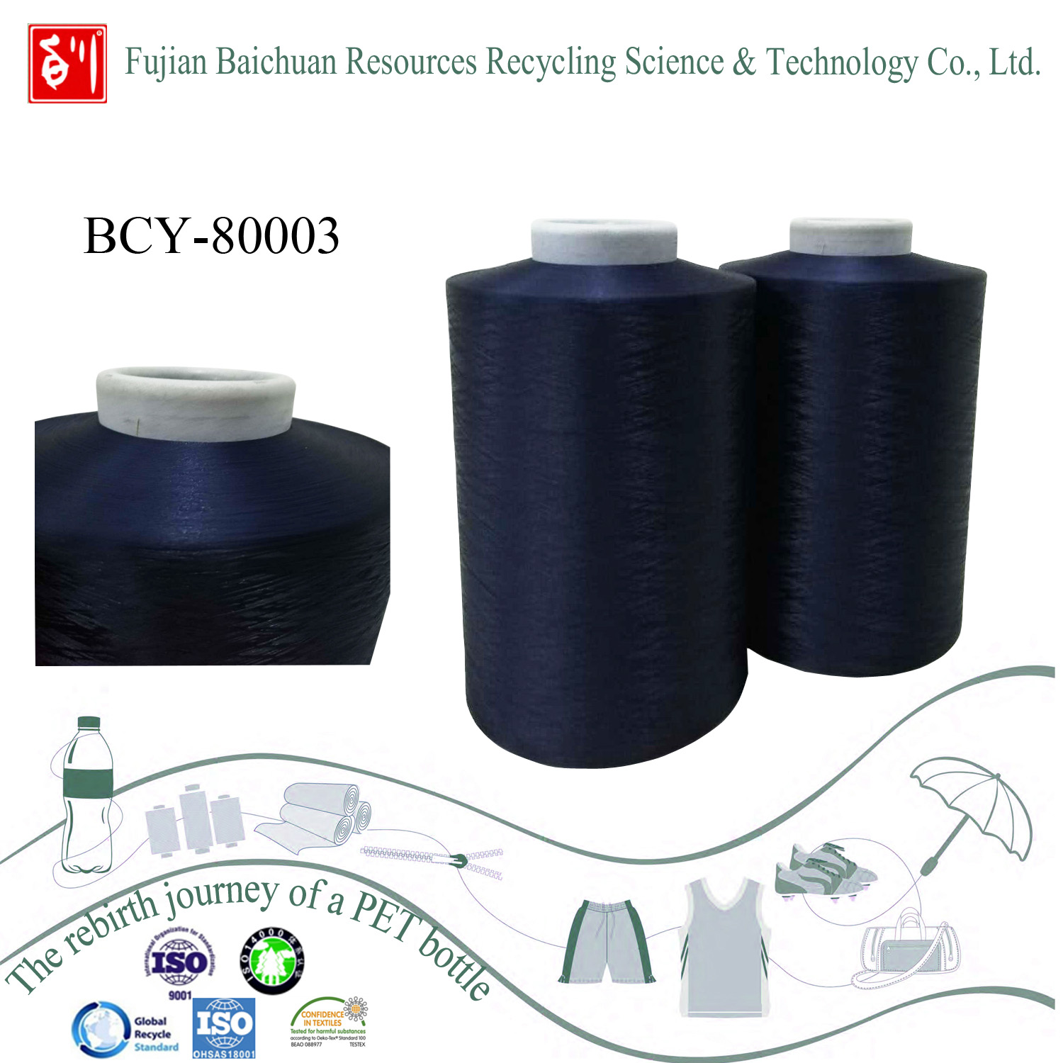Recycled super quality polyester yarn
