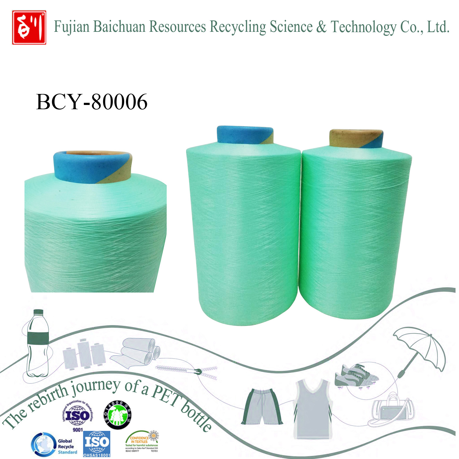 recycled polyester yarn with low price from china