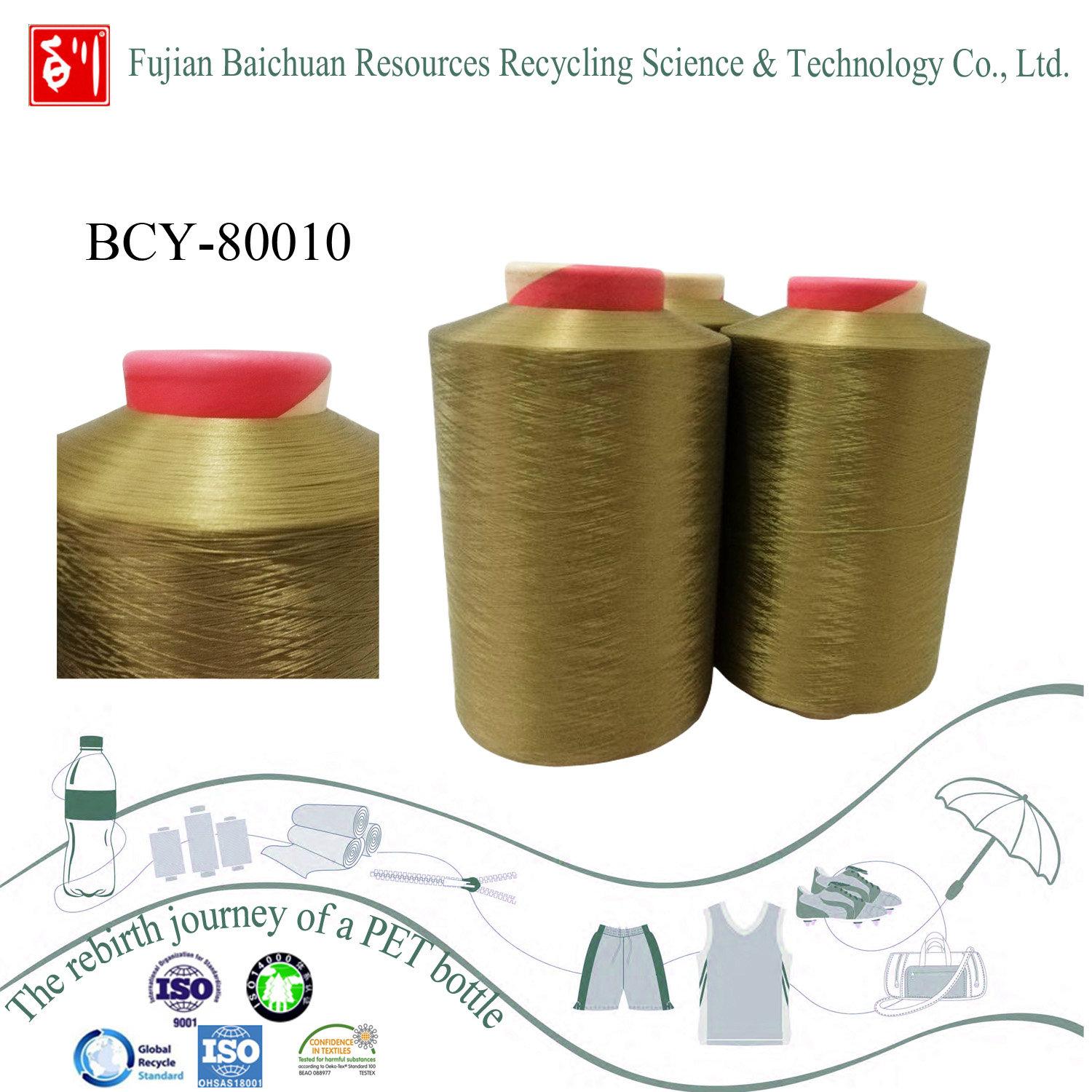 China waste bottle recycled yarn
