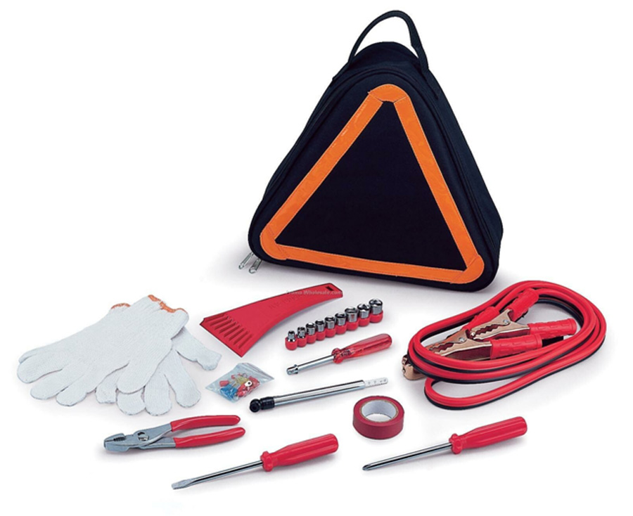 11-pieces DH801 Car Roadside Emergency Kit with unique triangular-shaped bag