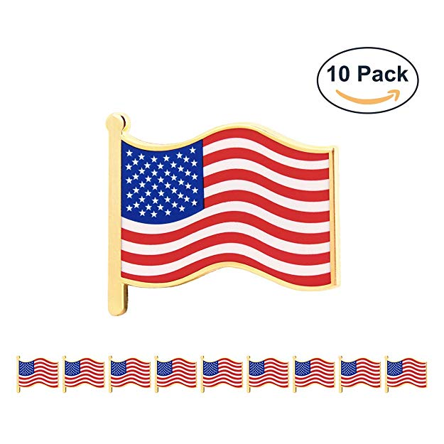 GS-JJ 10 Pcs 1 American Flag Pins Bulk, USA Waving Patriot Flag Lapel Pin with Stars for Suit, Jackets, Hat, and Uniform
