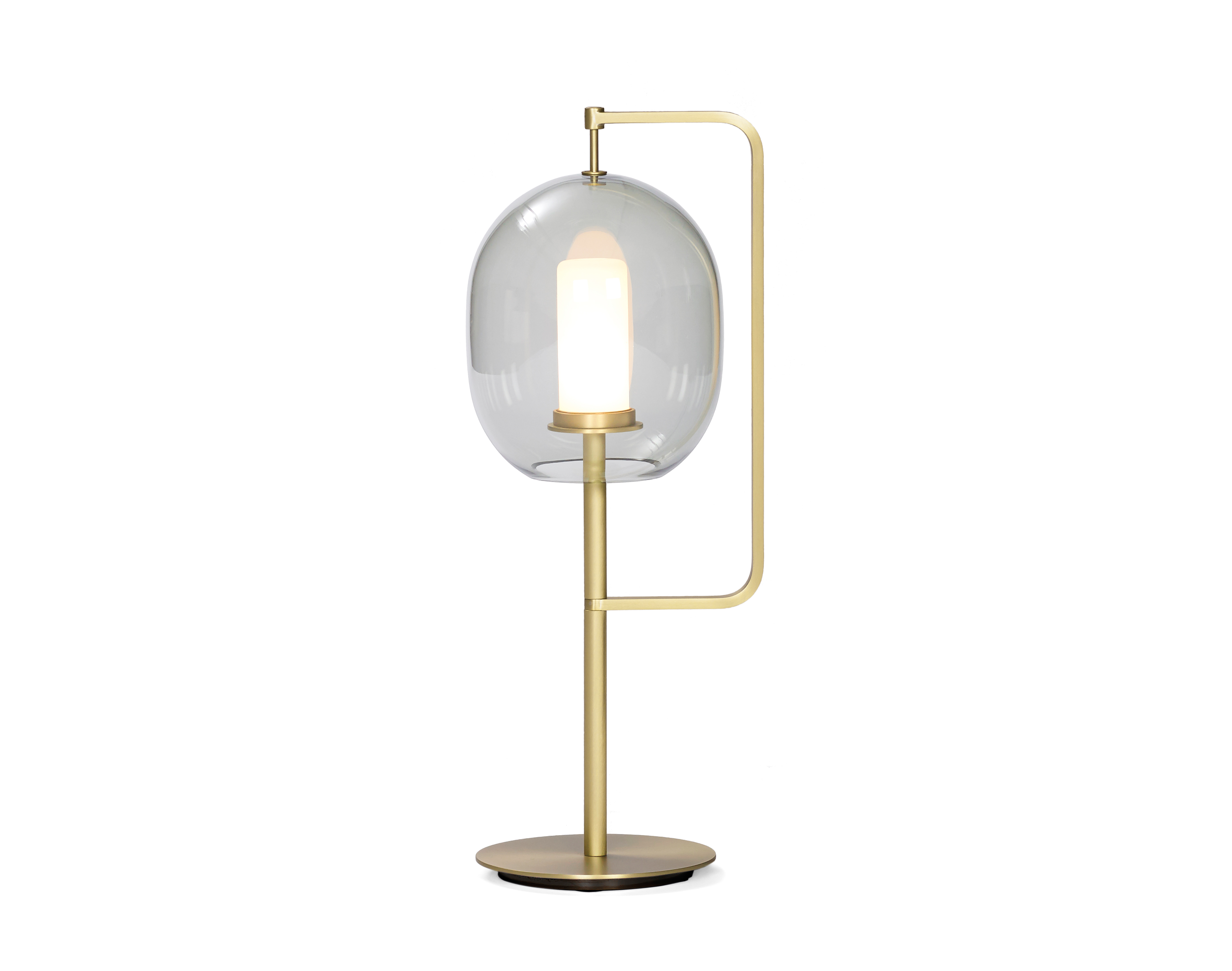 Double glass Iron brass color table lamps/LED light for hotel