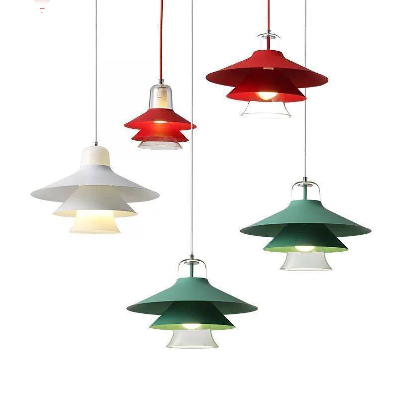 Colorful modern metal glass multilayer pendant light for home