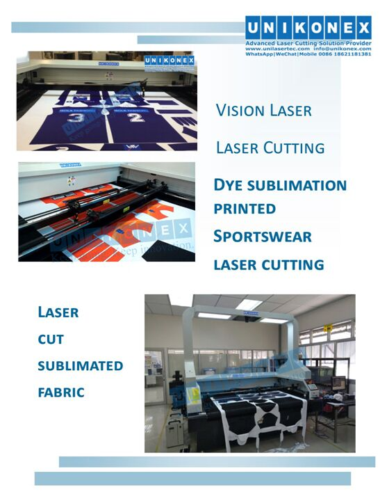 Dye sublimation printed fabric laser cutting by Unikonex vision laser