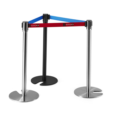 Stackable Retractable Belt Stanchion with Cement Base