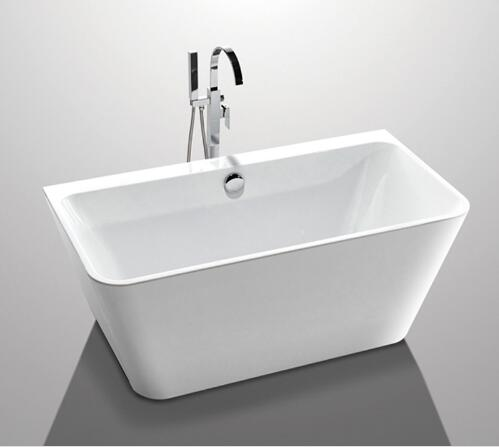 Glossy Solid Surface Acrylic Free Standing Bathtub Indoor Square Shaped YX-761K