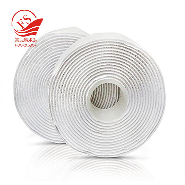 White adhesive Strips Set Stick On Hook And Loop Tape