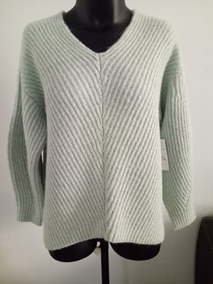 Good quality laides gray half cardigan knit V neck pullover