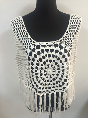 hot selling fashion ladies  hand crochet knit vest with fringe manufacture